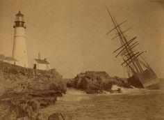 noflattery:  A.C. Maguire, at Portland Headlight, Cape Elizabeth, ca. 1887