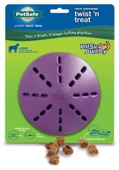 PetSafe Busy Buddy Twist 'n Treat Dog Toy will keep your dog busy for hours as he tries to get the delicious treats inside. The two halves are adjustable to work with a wide variety of treat options. Twist the halves far apart to give your dog a quick reward, or twist the halves closer together for more of a challenge. Add small treats or smear with cheese or peanut butter for even more playtime options.