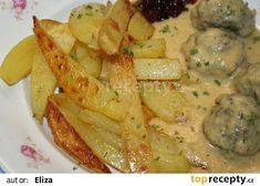 Domácí máslové hranolky - jednoduché, ale nejlepší recept - TopRecepty.cz Russian Recipes, Thai Red Curry, Potatoes, Chicken, Meat, Cooking, Ethnic Recipes, Polish, Kitchen