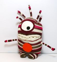 ALBINUS Handmade Cyclops Sock Monster with Stripes by stufd