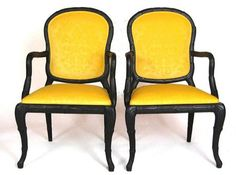antique chairs yellow & black