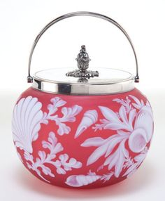 THOMAS WEBB GLASS BISCUIT BARREL, ROSE GLASS ETCHED IN SEALIFE MOTIF, C. 1900