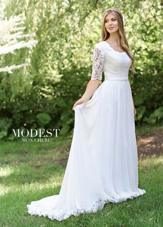 Modest Wedding Dresses TR11834 - Chiffon and lace A-line gown with elbow-length sleeves, scoop neckline edged with lace, lace illusion sleeves with scalloped edge, covered buttons conceal the zipper down center back, attached belt at natural waistline, and lightly gathered skirt with a chapel train.