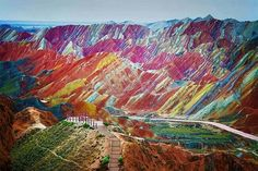 Funny pictures about China's Rainbow Mountains. Oh, and cool pics about China's Rainbow Mountains. Also, China's Rainbow Mountains. Beautiful Places In The World, Places Around The World, Around The Worlds, Amazing Places, Amazing Things, Wonderful Places, Rainbow Mountains China, Colorful Mountains, Desert Mountains