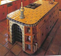 Talavera Tile with arched recess in darker color