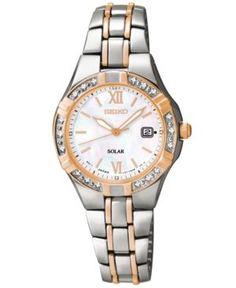 Seiko Women's Solar Diamond Accent Two-Tone Stainless Steel Bracelet Watch 27mm SUT146