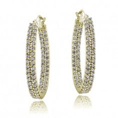 06b7c106b $29.99 18K Gold over Sterling Silver CZ 2-Row Inside Out Hoop Earrings  Cubic Zirconia