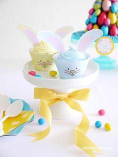 Cupcakes easter, chic, cute, magdalenas de Pascua, conejitos, merienda, pasteles www.PiensaenChic.com