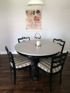 Reclaimed dining set- chairs from habitat and table from a thrift store. Dining Set, Dining Table, Thrifting, Chairs, Crafty, Store, Furniture, Home Decor, Dinning Set