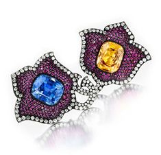 A Pair Of Sapphire, Ruby And Diamond Ear Clips, By JAR