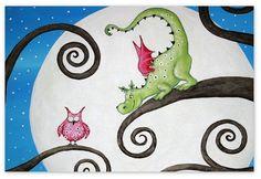 """Handgemaltes Bild mit Motiv """"Mondscheindrache"""".    _Das abgebildete Foto zeigt nur ein Beispiel._  Ihr Kinderzimmerbild fertige ich nach dem Kauf ähnl"""