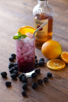 Blackberry Bourbon Fizz Cocktail