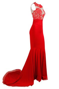 Honey Couture Red Nude Lace Mermaid Formal Gown Dress