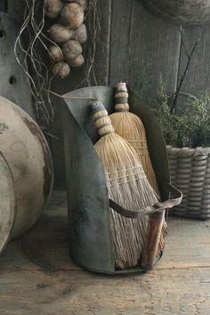 Primitive Early Homestead Look Metal Farm Scoop w Vintage Whisk Brooms   eBay