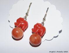"""Ohrhänger - Ohrhänger """"Elefant Korallrot"""" - ein Designerstück von Angelas-Kreativ-Welt bei DaWanda"""