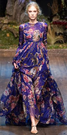"Runway Looks We Love: Dolce & Gabbana - Dolce & Gabbana from #InStyle i""ll admit there's a lot going on in this dress but its so pretty"