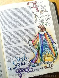 Gorgeous Bible journal by Krista Hamrick! One of my favorite Bible stories too. Scripture Doodle, Scripture Art, Bible Art, Faith Bible, My Bible, Bible Scriptures, Bible Drawing, Bible Doodling, Beautiful Words