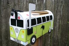 Image of Lime Green Surf Themed Volkswagen Bus Mailbox by TheBus Box - Choose your color, Surfer Van Unique Mailboxes, Painted Mailboxes, Custom Mailboxes, Mailbox Makeover, Diy Mailbox, Mailbox Ideas, Vintage Mailbox, Garage Ideas, Volkswagen Bus