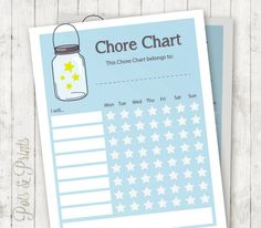 Printable chore chart: Mason jars stars chore chart to help remember and mark chores in a fun and easy way