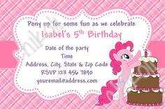 My little pony  Pinkie Pie   Birthday party invitations by Chikoli, $8.00