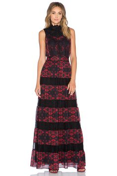 Alice + Olivia Briella Romantic Lace Maxi Dress in Red Lotus Flower | REVOLVE