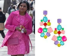 """Mindy's candy-colored earrings from """"Danny and Mindy"""" /// Kate Spade Chandelier Earrings - $68 (was $98, also here) Worn with Kate Spade ..."""