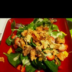 Tropical spinach salad with salmon. One of my favorites. Spinach, strawberries, mango, salmon, and poppyseed dressing. Spinach Salad, Strawberries, Dressing, Tropical, My Favorite Things, Drinks, Recipes, Food, Rezepte