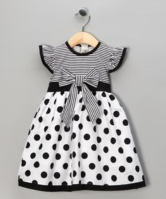 Black Polka Dot Stripe Dress - Toddler & Girls