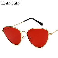 135faacbe65 LeonLion Vintage Cat Eye Sunglasses Women Brand Designer Small Frame Alloy  Sunglasses Reflective Mirror UV400 Glasses
