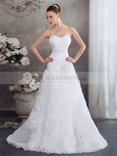 Malita - corte princesa cola corte vestido de novia de satén con rhinestone