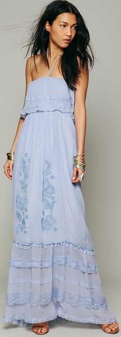 Maddie Embroidered Silk Maxi ♥✤ | Keep the Glamour | BeStayBeautiful
