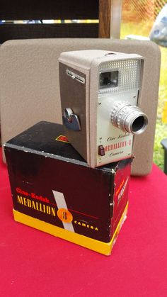 Cinema Kodak Medallion 8mm movie camera. Original box and manual included. This item is vintage, but it does work. Users 8mm cartridge film. Please note this is a vintage item and leather, bellows, an