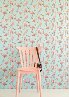 papier peint flamants roses pour chambre de b b voitures fils et design. Black Bedroom Furniture Sets. Home Design Ideas
