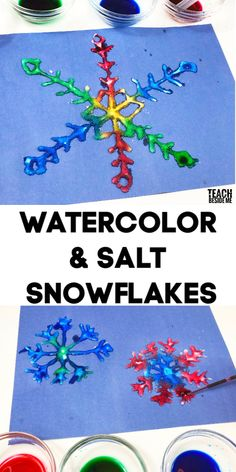 Watercolor salt and glue art~ winter snowflake craft ~ An awesome science and art combo! Watercolor salt and glue art~ winter snowflake craft ~ An awesome science and art combo! Christmas Crafts For Kids, Diy Crafts For Kids, Holiday Crafts, Fun Crafts, Art For Kids, Winter Crafts For Toddlers, Ocean Crafts, Creative Crafts, Diy Niños Manualidades