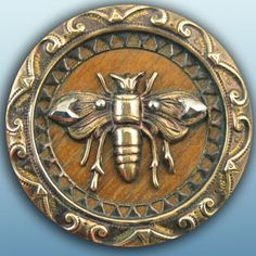 %u2257 The Bees Reverie %u2257 antique brass bee button with wood background