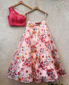 Pink One Shoulder Blouse & Floral Lehenga Shrena hirawat