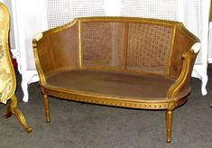 1700  19th Century French Louis XVI Cane Caned Settee Sofa Canapé #LouisXIIIXIVXVXVI
