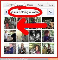 Please tell me how this happened. More importantly, why would you want to look at pictures of Jesus holding a koala?