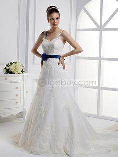 A-ライン細い肩紐ロングフロア飾り帯大聖堂ウェディングドレス