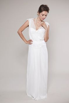 Chiffon Top Wedding Gown