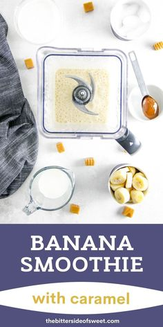 Banana Caramel Smoothie is fresh and creamy! Made with just 5 ingredient, this smoothie will help you power through the day!   The Bitter Side of Sweet Ice Cream Toppings, Greek Yogurt, Grocery Store, Sweet Recipes, Banana, Lunch, Snacks, Bitter