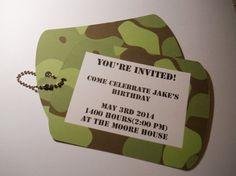 Army Dog tag Birthday Party Invitations by KardsbyKaylee on Etsy