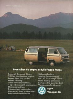 Volkswagen Vanagon GL Original 1987 Vintage Print Ad Color Photo Family Camping with their Silver VW Mini Van; German Motor Vehicle