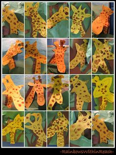Kindergarten giraffes using footprint and fore arm by rainbowswithinreach.