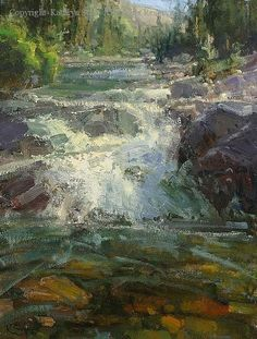 Mountain Stream - Oil by Kathryn Stats: