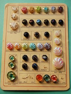 Wonderful vintage, salesman sample, Czech glass, button card.