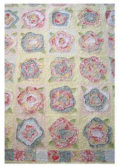 by Pretty Ditty, French Roses applique quilt. raw edges on appliques making it easier/faster. love her color coordination.