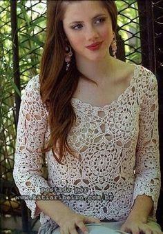 Katia Ribeiro Moda & Decoração Handmade: Blusa com motivos em crochê com gráfico