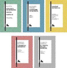 Diseño de cubierta actual. Colores: Azul, para Novela y cuentos en general; Verde, para Ensayos y filosofía; Amarillo, para Poesía; Rosa, para Teatro; y Gris, para los Clásicos.
