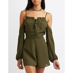 Charlotte Russe Tie-Front Cold Shoulder Romper ($33) ❤ liked on Polyvore featuring jumpsuits, rompers, olive, charlotte russe, chiffon romper, spaghetti strap romper, tie-dye rompers and long-sleeve romper